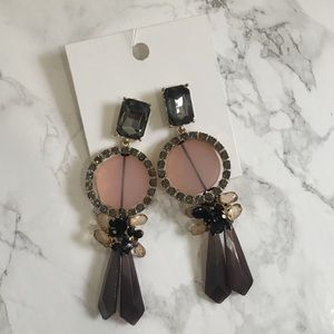 NWT H&M Purple Bejeweled Statement Earrings